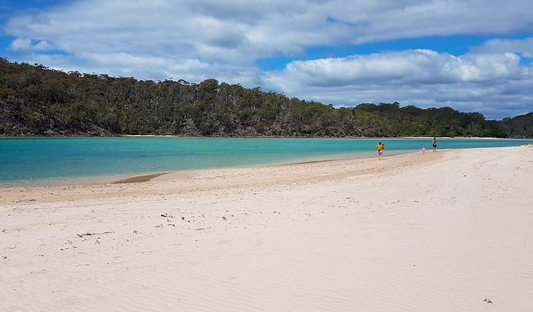 Family walking along the sand bank of Pambula River in Ben Boyd National Park. Photo: Amanda Cutlack/OEH