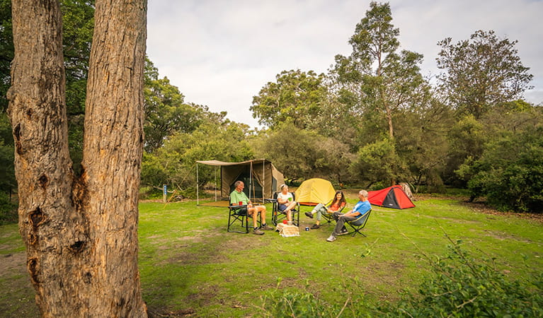 Group camping at Saltwater Creek campground, Ben Boyd National Park. Photo: J Spencer/OEH