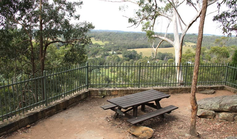 Picnic area and view from Caleys lookout track. Photo: John Yurasek © DPIE
