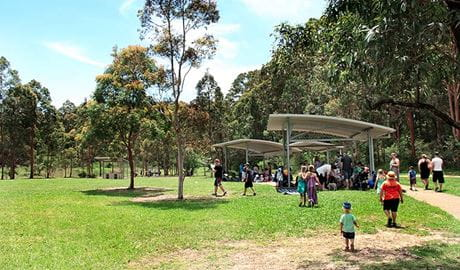 People enjoy a picnic, Village Green picnic area. Photo: John Yurasek/NSW Government