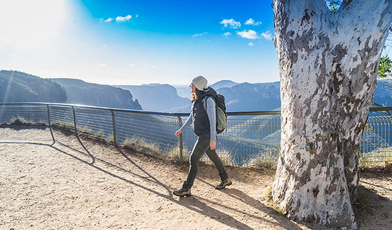 A hiker at Govetts Leap, Blue Mountains National Park. Photo: Simone Cottrell/OEH.