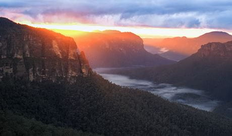 Sunset behind Pulpit Rock, Blue Mountains National Park. Photo: Steve Alton/OEH.