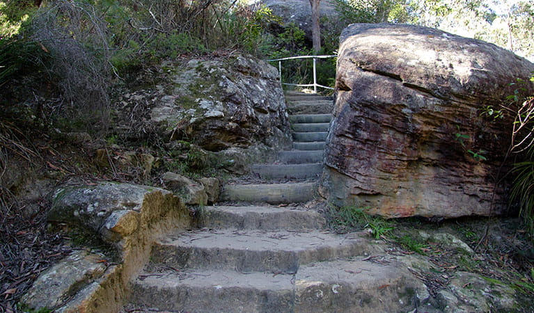 Sandstone stairs leading to Jellybean Pool. Photo: OEH/Natasha Webb