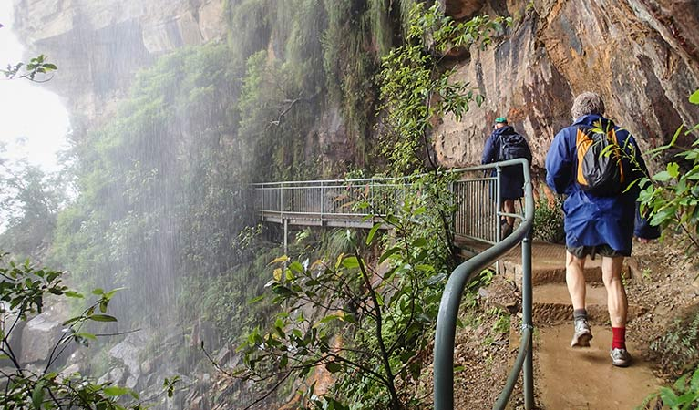 Walkers pass under a waterfall on National Pass, Blue Mountains National Park. Photo: Aine Gliddon/OEH