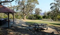 Barbecues and picnic tables at Wentworth Falls picnic area, Blue Mountains National Park. Photo: E Sheargold/OEH.