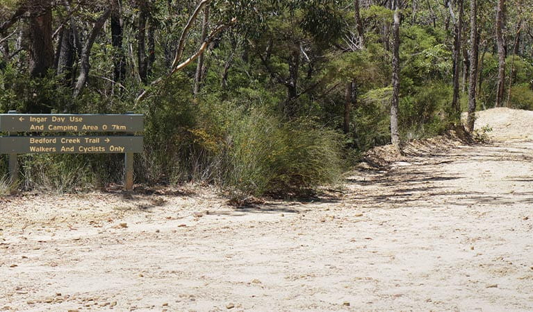 Track signage at Ingar Road and Bedford Creek trail junction, Blue Mountains National Park. Photo: Stephen Alton/OEH
