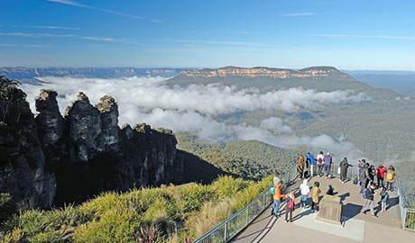 Visitors take in views from Echo Point lookout, Katoomba, Blue Mountains National Park. Photo: E Sheargold/OEH.
