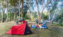 Tent and campers at Dunphys campground, Blue Mountains National Park. Photo: Simone Cottrell/OEH