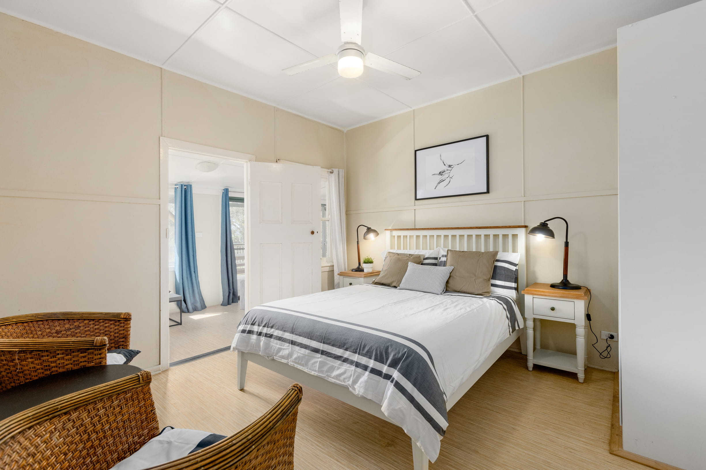 Interior of Tuckers Rocks Cottage master bedroom. Photo: Mitchell Franzi/DPIE