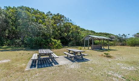 Picnic tables and barbecue shelter, Elizabeth Beach picnic area, Booti Booti National Park. Photo credit: John Spencer © DPIE