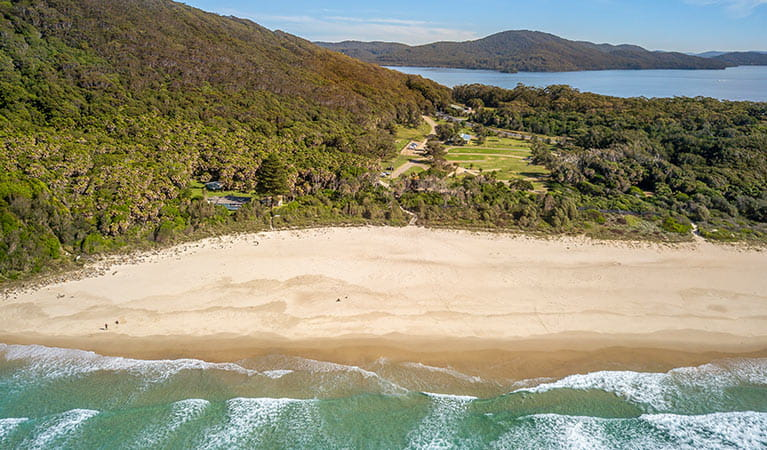 Arial shot of The Ruins campground in Booti Booti National Park, between Wallis Lake and Seven Mile Beach. Photo credit: John Spencer & copy; DPIE