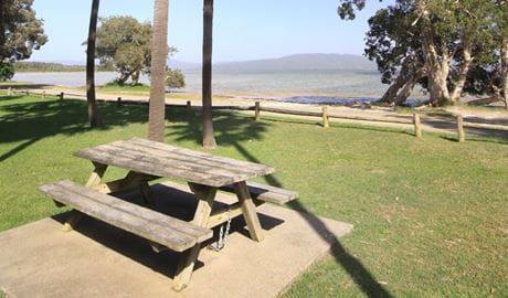 Picnic table at Sailing Club picnic area, Booti Booti National Park. Photo: OEH