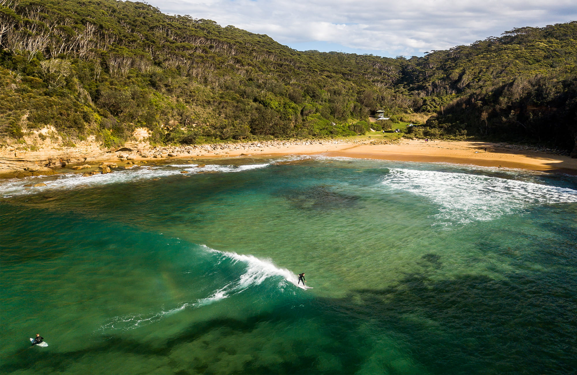 Aerial view of Little beach and campground, Bouddi National Park. Photo: John Spencer/DPIE.