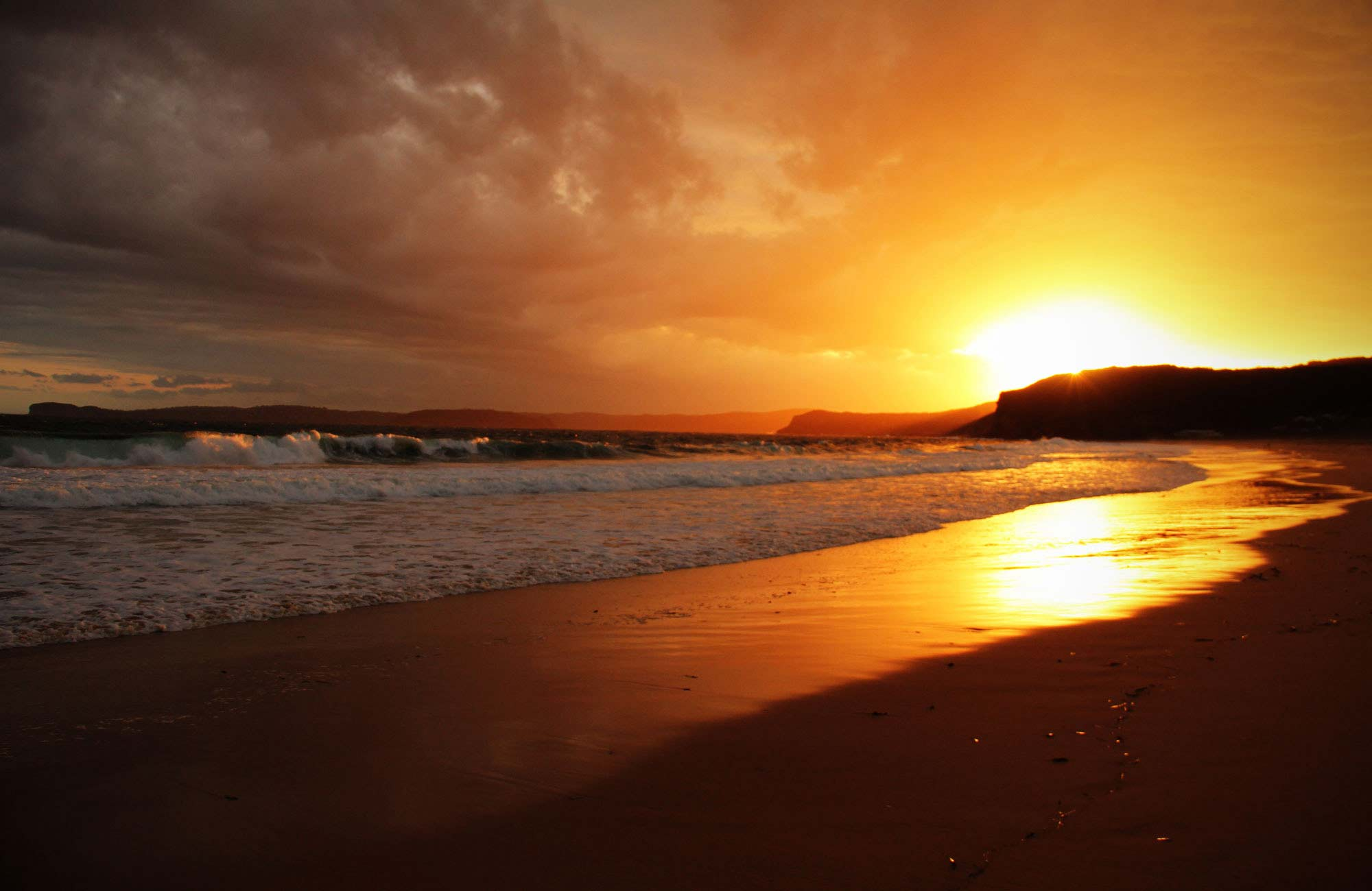 Sunset, Putty Beach campground, Bouddi National Park. Photo: John Yurasek