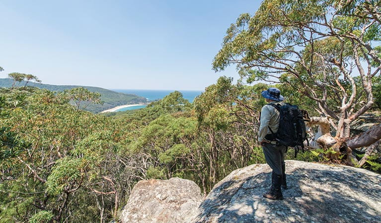 A bushwalker admiring views of bushland and ocean from the Bouddi Ridge Explorer trail. Photo: John Spencer/DPIE