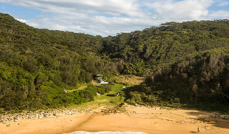 Aerial view of Little Beach and campground showing toilet and barbecue facilities, Bouddi National Park. Photo: John Spencer/DPIE.