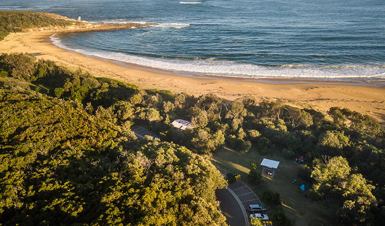 Aerial view of Putty Beach campground, right next to the beach. Photo: John Spencer/DPIE