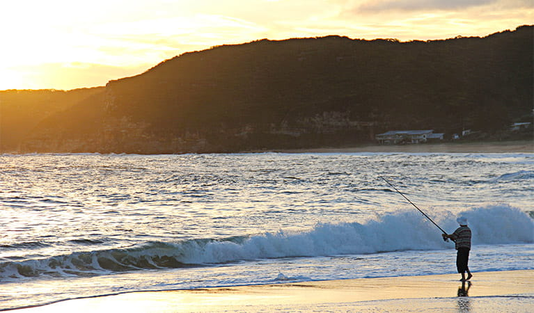 Fishing on the beach. Bouddi National Park. Photo: John Yurasek Copyright:NSW Government