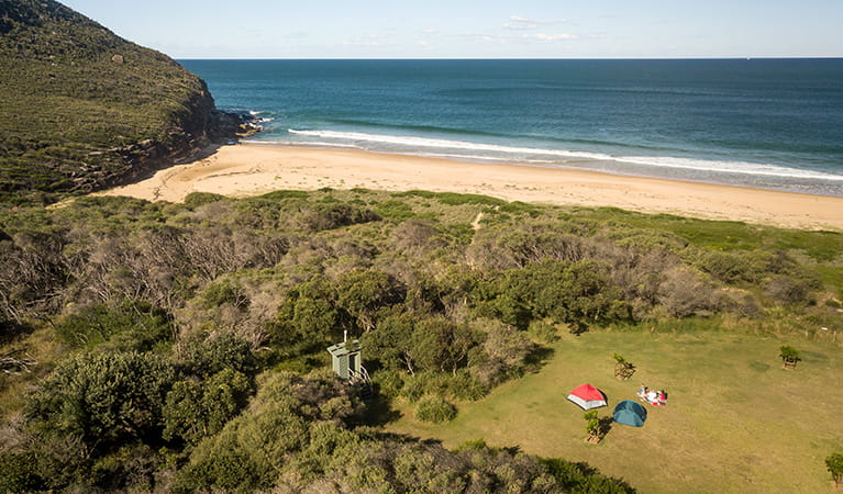 Aerial view of Tallow Beach and campground, Bouddi National Park. Photo: John Spencer/DPIE.