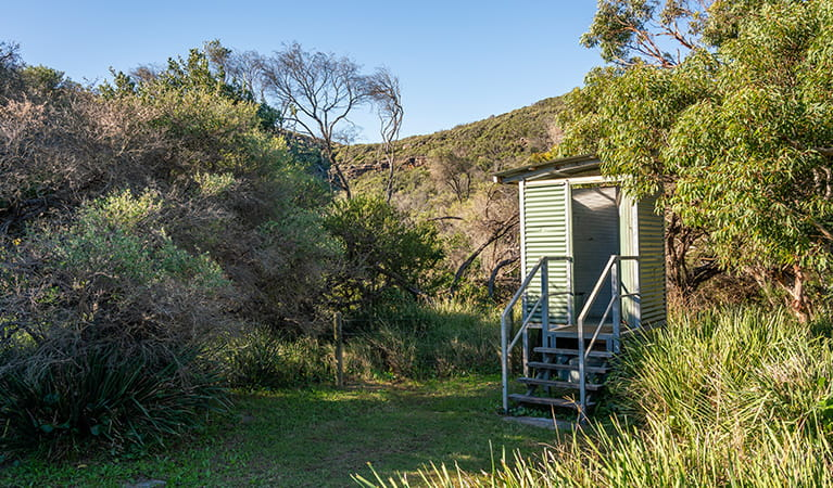 View of toilet facility located at Tallow Beach campground, Bouddi National Park. Photo: John Spencer/DPIE.