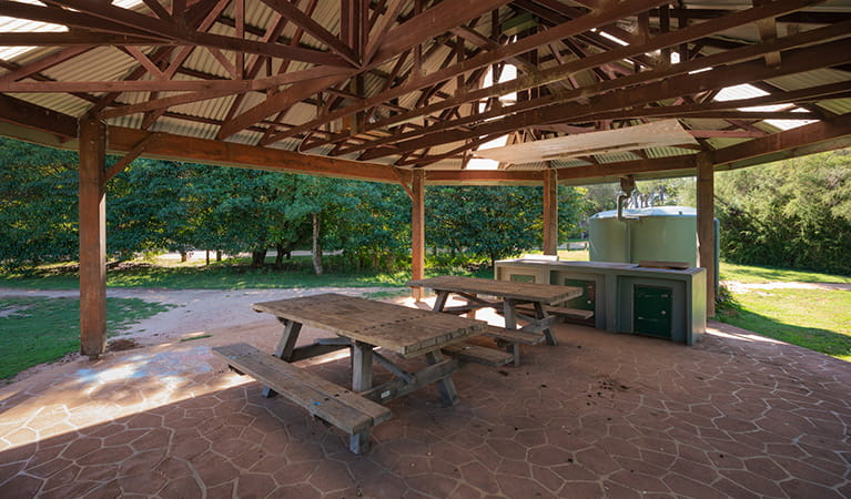 Picnic and barbecue facilities at Hobart Beach campground, Bournda National Park. Photo: Daniel Tran/DPIE