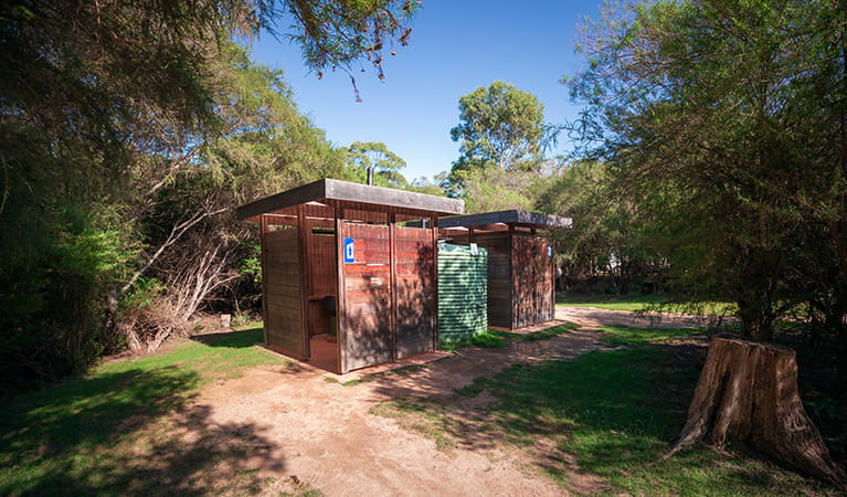 Toilet facilities at Hobart Beach campground, Bournda National Park. Photo: Daniel Tran/DPIE