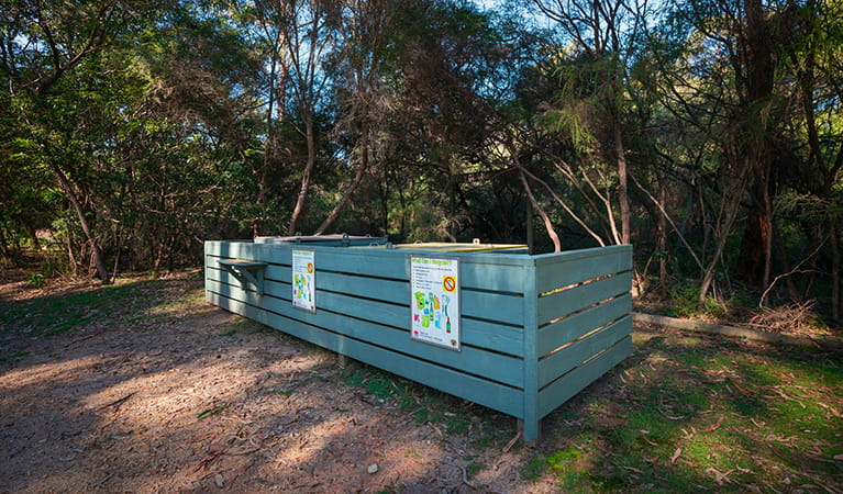 Garbage bins at Hobart Beach campground, Bournda National Park. Photo: Daniel Tran/DPIE