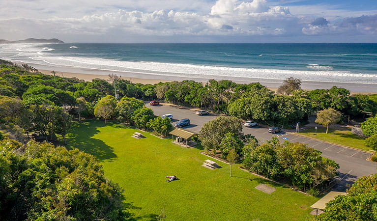 Aerial view of Broken Head picnic area and nearby beach in Broken Head Nature Reserve. Photo: John Spencer/DPIE