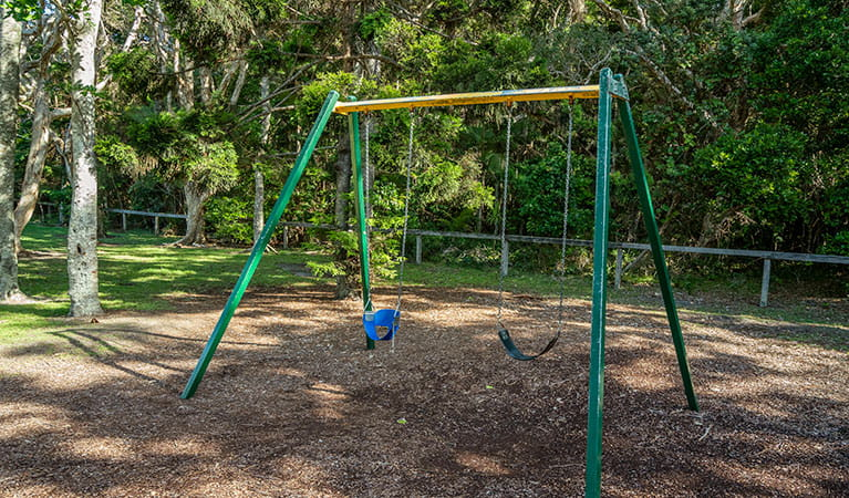 A swing set at Broken Head picnic area in Broken Head Nature Reserve. Photo: John Spencer/DPIE