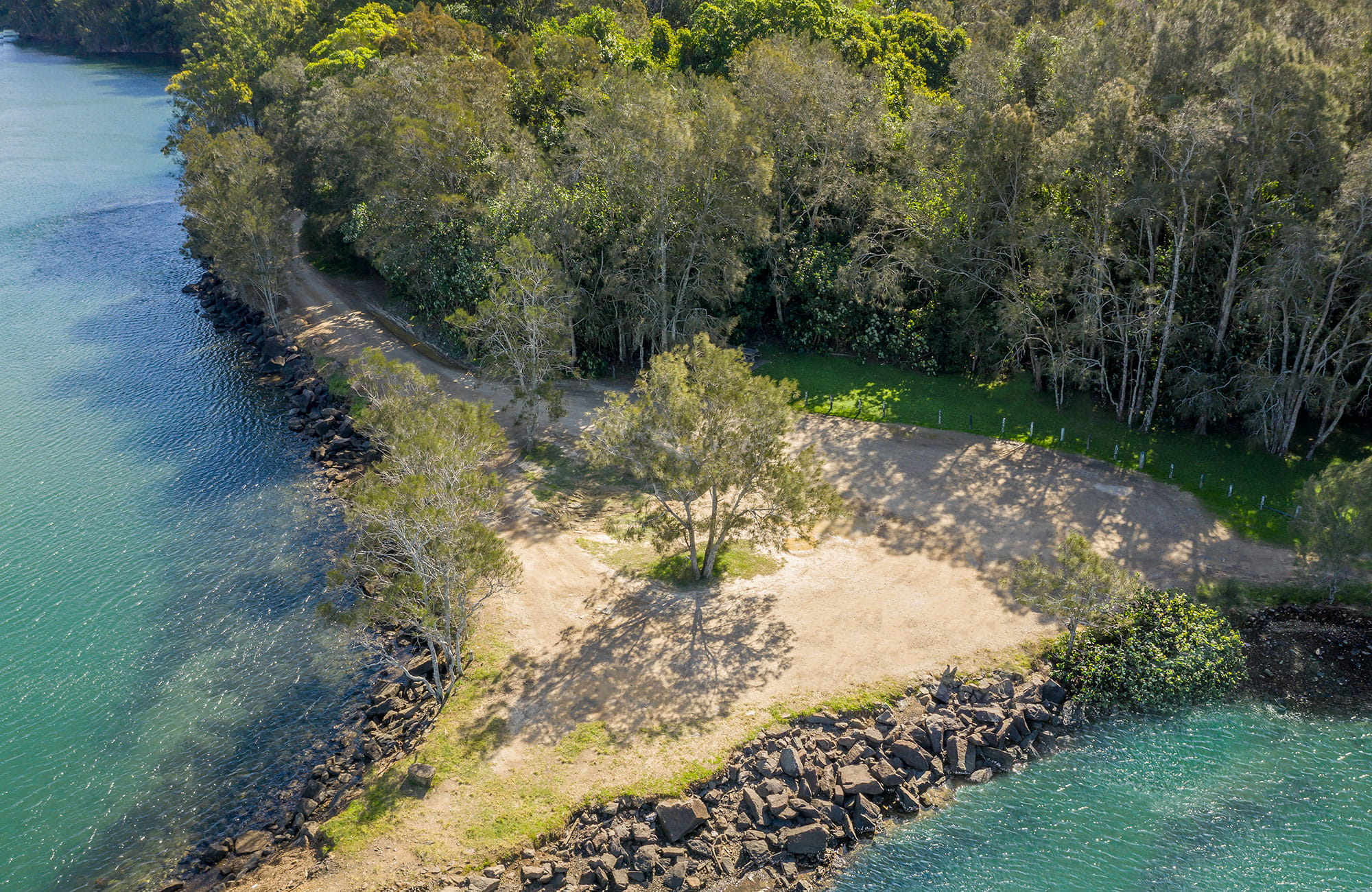 Aerial view of Brunswick River picnic area in Brunswick Heads Nature Reserve. Photo: John Spencer/DPIE