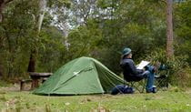 Long Gully campground tent, Budawang National Park. Photo: Lucas Boyd/DPIE