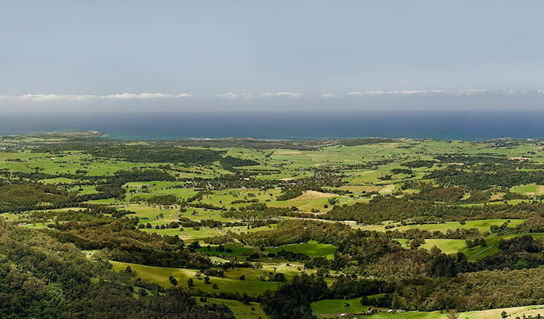 Views of farmland and coastline from Jamberoo lookout, Budderoo National Park. Photo credit: Michael Van Ewijk &Copy; DPIE