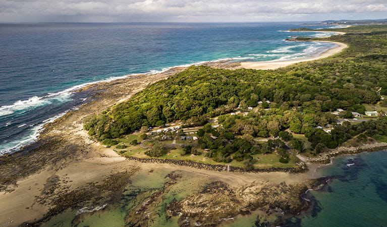 Aerial view of Woody Head cottages, cabins and camground, Bundjalung National Park. Photo: John Spencer/OEH