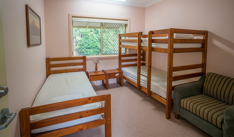 Single and bunk beds in Bunkhouse, Bundjalung National Park. Photo: J Spencer/OEH