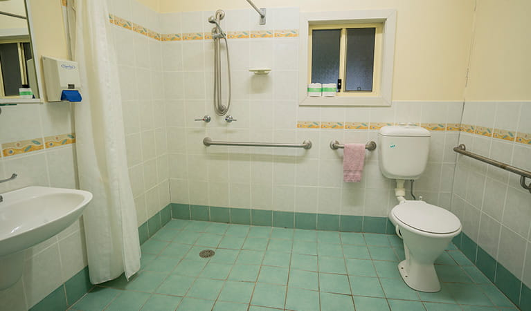 Accessible bathroom at Swamp House, Bundjalung National Park. Photo: J Spencer/OEH
