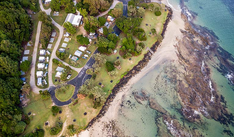 Aerial view of Woody Head campground and adjoining beach, Bundjalung National Park. Photo: John Spencer/OEH