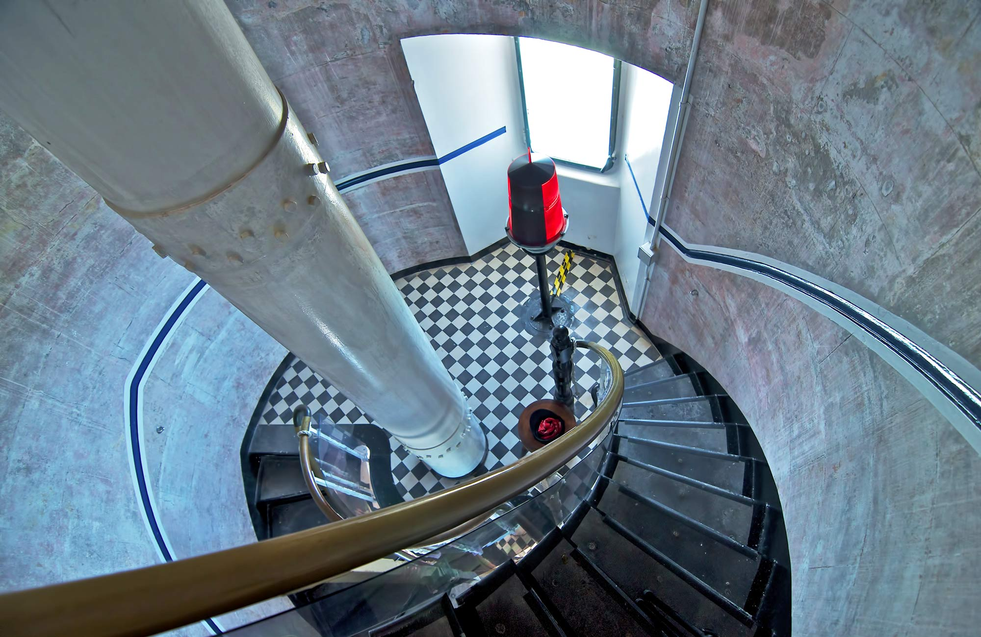 Spiral staircase inside the lighthouse. Photo: John Spencer