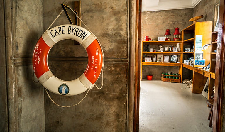 A life saving buoy at Cape Byron Lighthouse Museum, Cape Byron State Conservation Area. Photo: John Spencer/OEH.