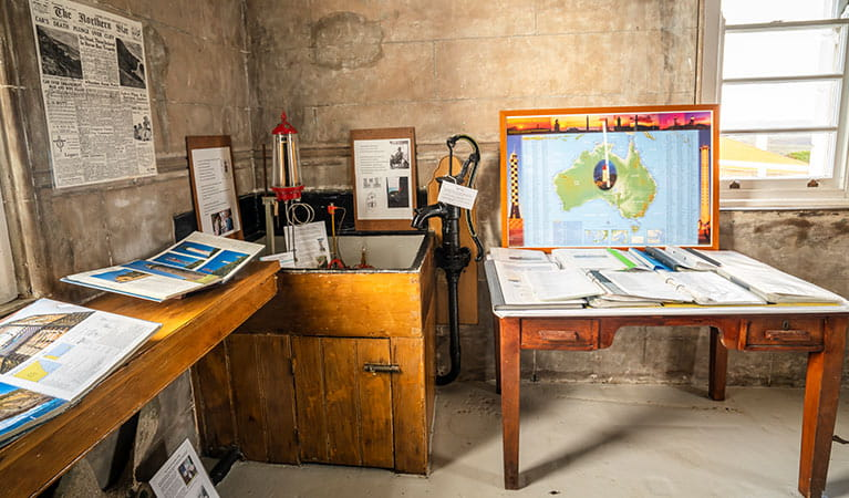 Maps and displays at Cape Byron Lighthouse Museum, Cape Byron State Conservation Area. Photo: John Spencer/OEH.