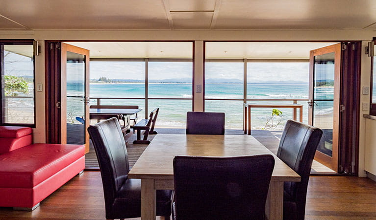 View of the ocean from the dining area inside Imeson Cottage. Photo: Sera Wright/DPIE.