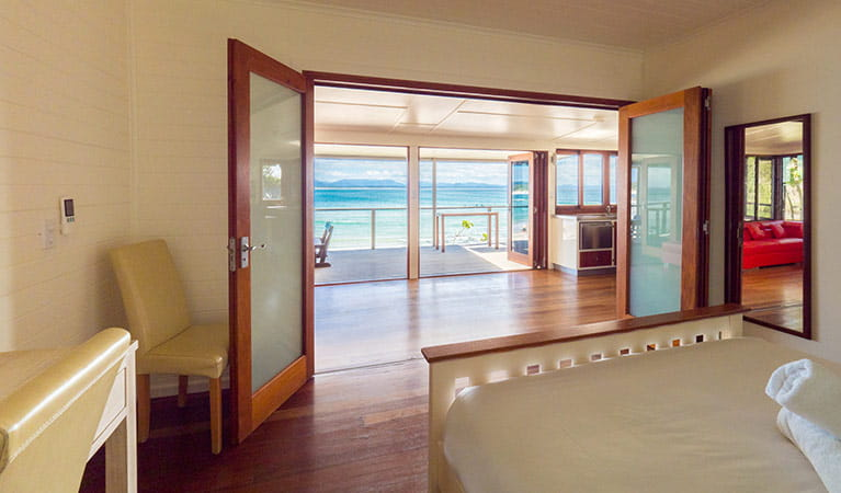 Ocean views from a bedroom in Imeson Cottage. Photo: Sera Wright/DPIE.