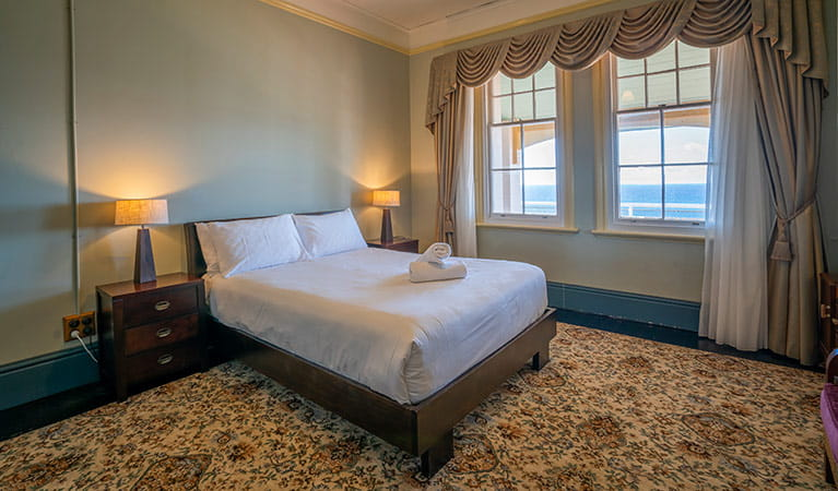 Double bedroom with water views in the Assistant Lighthouse Keepers Cottage. John Spencer/DPIE