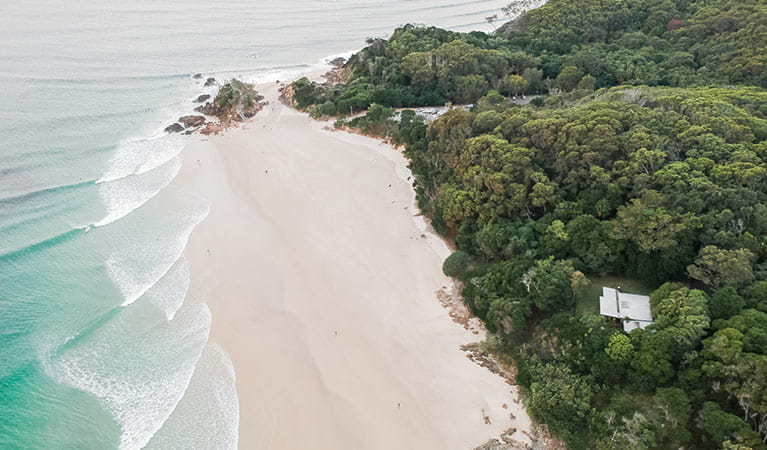 Aerial view of Thomson Cottage, positioned next to the beach. Photo: Sera Wright/DPIE