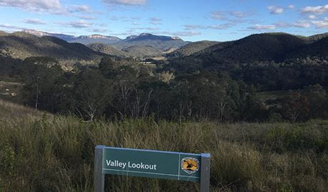 Valley lookout sign and views across Capertee Valley, Capertee National Park. Photo: Adam Bryce/OEH