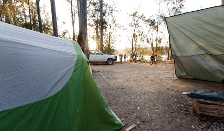 Red Gum campground tents, Clyde River National Park. Photo: Lucas Boyd/DPIE