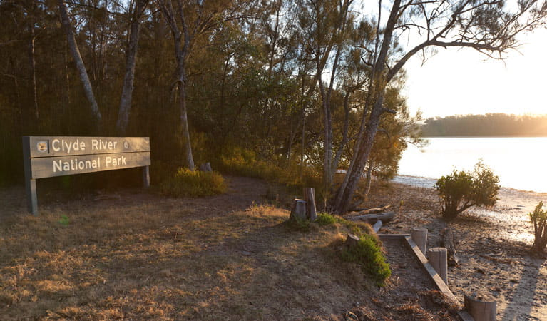 Red Gum campground sign, Clyde River National Park. Photo: Lucas Boyd/DPIE