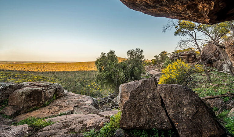 The view from Spring Hill picnic area in Cocoparra National Park. Photo: John Spencer/DPIE