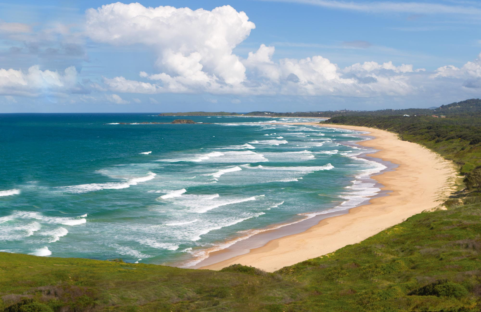 The view from Woolgoolga headland along the beach. Photo: Rob Cleary