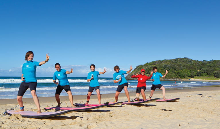 Learning to surf at Diggers Beach. Photo: Rob Cleary