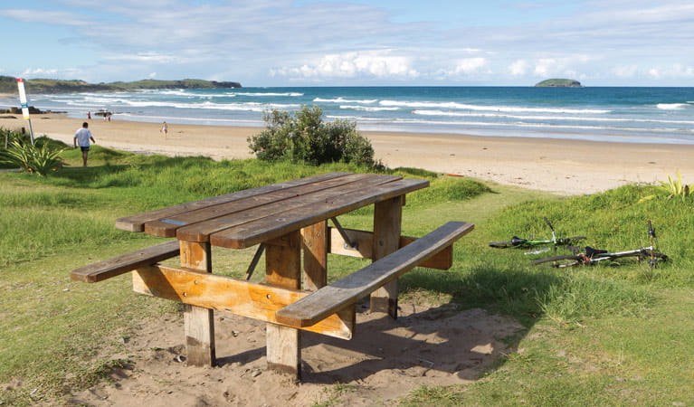 Picnic table beside Emerald Beach, Coffs Coast Regional Park. Photo: Rob Cleary